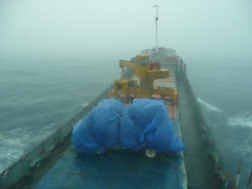 La furgo durante una tormenta en el Caribe, a bordo del Intrepide